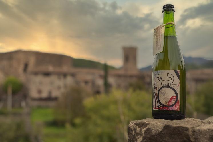 Cervesa elaborada amb flors silvestres de Santa Pau amb etiqueta de la Berta Xirinachs