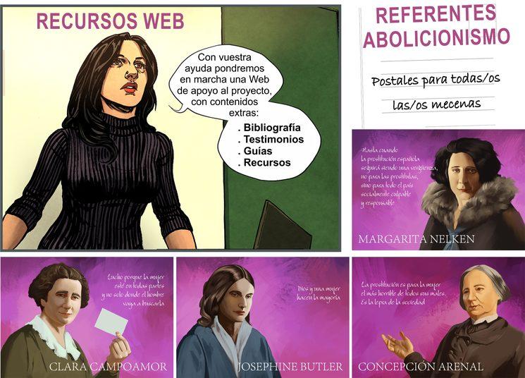 Objetivo 2º - Alcanzar los 8.500 €: WEB y Postales de mujeres destacadas del abolicionismo