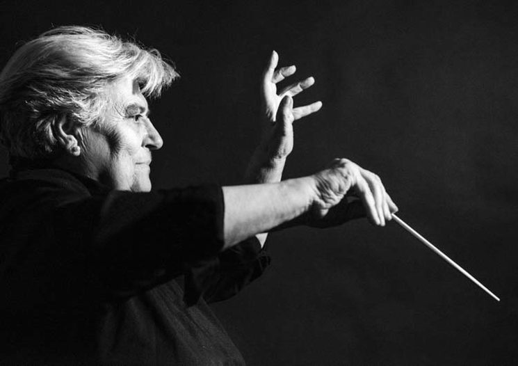 Helen Von Karajan, the world-renowned conductor. 1976.