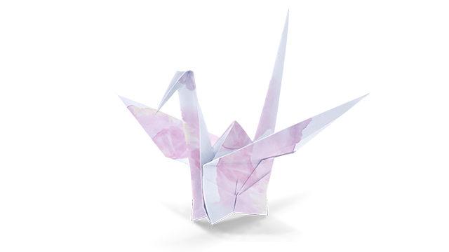 pajarita de papel terminada