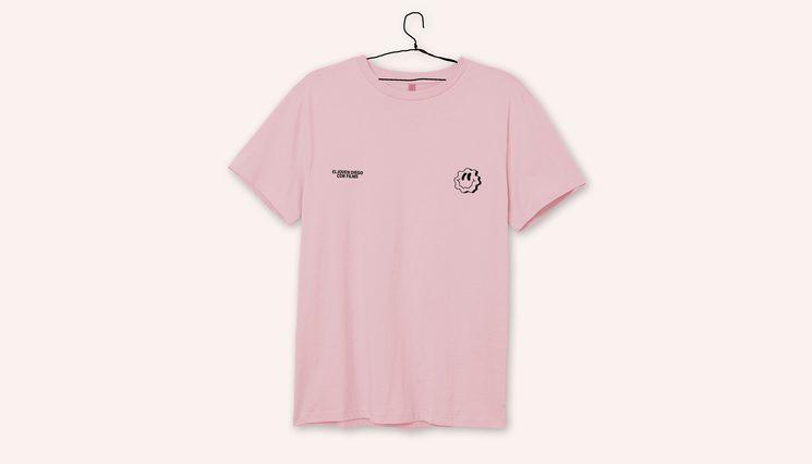 Camiseta rosa smiley - serigrafia.