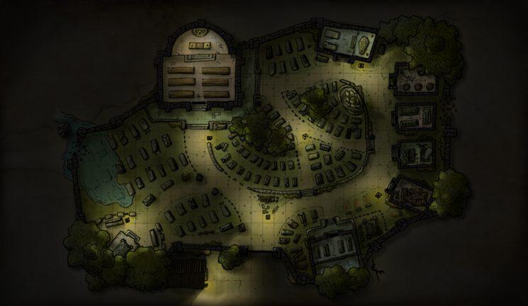 Cementerio de noche. Ilustración de Eneko Menica.