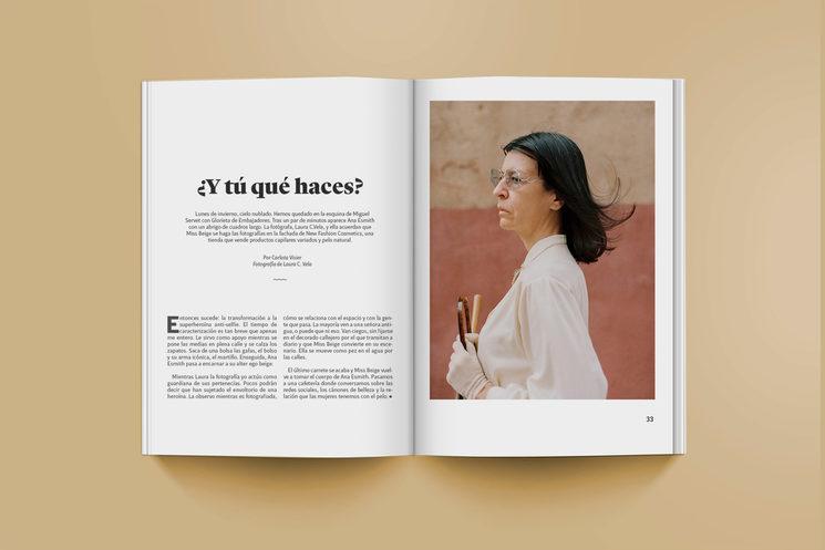 Mockup de la entrevista a la heroína del antiselfie Miss Beige realizada por Carlota Visier, con fotografías de Laura C. Vela