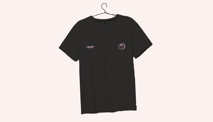 Camiseta negra smiley - serigrafía.