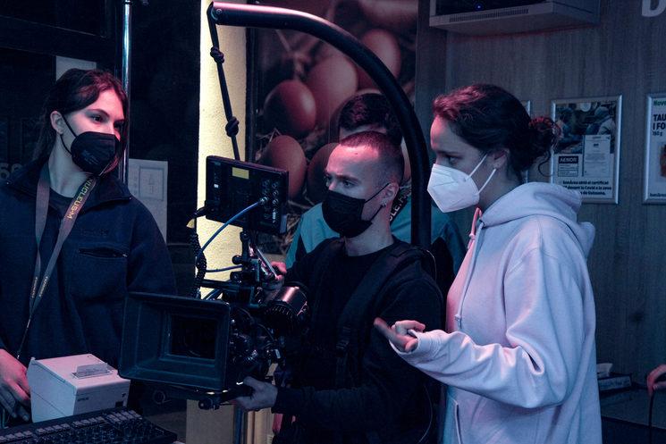 Equipo de cámara en el rodaje del teaser