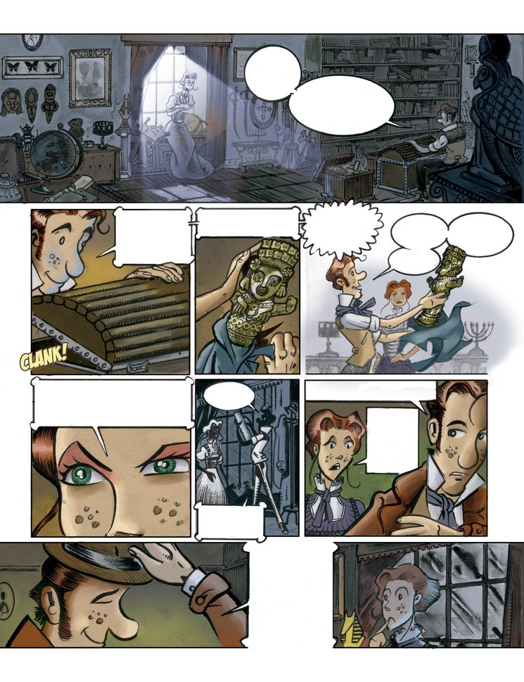 Ejemplo de página con ilustración y color finalizados.