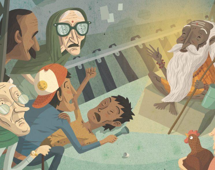 "Il·lustració del conte ""Un grill dins del tren"""