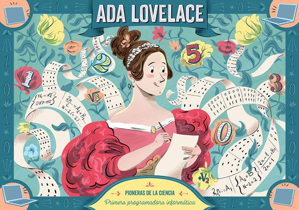Ilustración de Ada Lovelace para el puzzle. Hecha por César Barceló