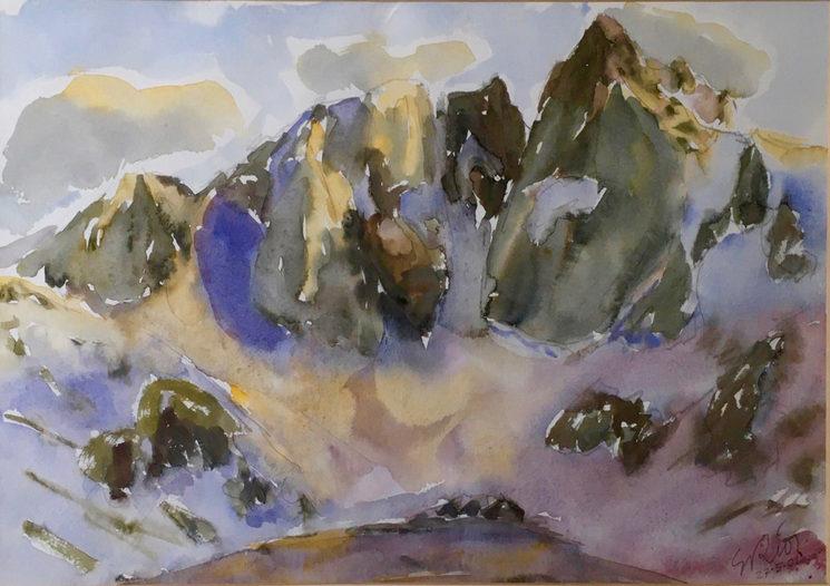 Vignemale desde el refugio des Oulettes. Acuarela  sobre papel Aquari 34x50 cm