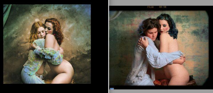 Obra de Jan Saudek (a la izquierda) y frame del video de la reproducción del cuadro a la derecha.