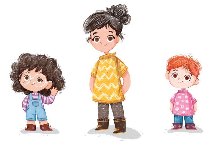 Nina, Nico y la mamá. Protagonistas del cuento.