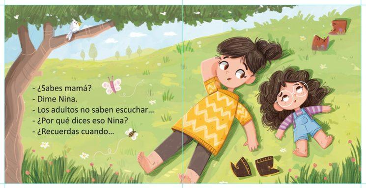 Primera escena del cuento, donde Nina le cuenta a su mamá qué está pasando...
