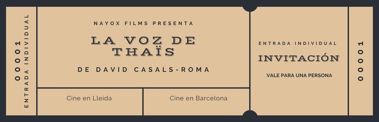 Invitation to the premiere in Lleida or Barcelona (Spain)