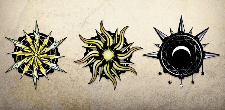 Facciones del Rayo, del Sol y de la Luna.