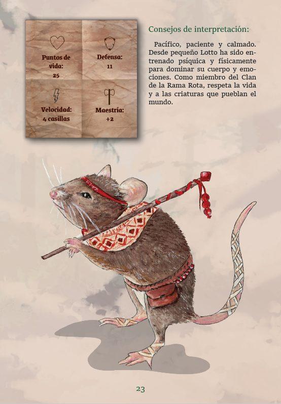 Hojas de personaje con la ilustración, datos y consejos de interpretación. Cada personaje tiene una hoja como esta y otra con las diferentes habilidades para dentro y fuera del combate.
