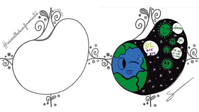 Izquierda: Plantilla #misemilladeconfinamiento.  Derecha: Creación en el interior de #misemilladeconfinamiento. Obra de Sofía Corbalán. 11 años.