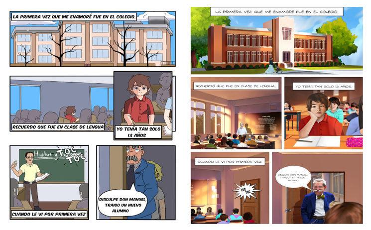 Primera página del cómic en estilo manga (Izquierda) y en estilo realista (Derecha)