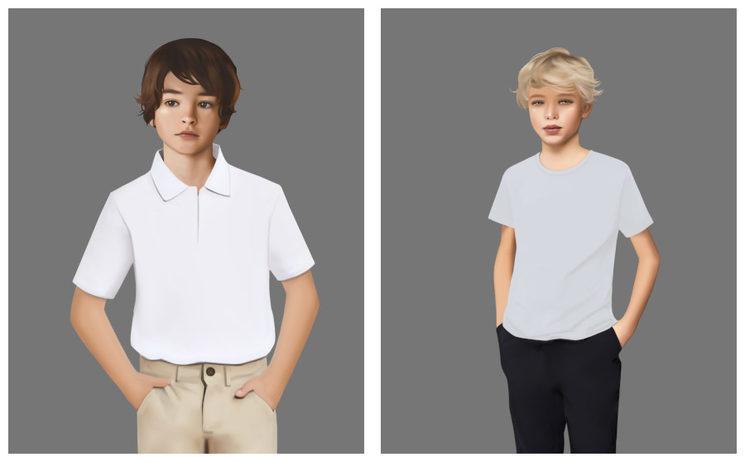 Lámina en estilo realista puedes elegir a Gaspar (izquierda) o Felipe (Derecha)