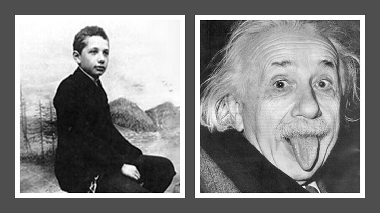 Albert Einstein con 14 años y de adulto. (Extraídas de https://es.wikipedia.org/wiki/Albert_Einstein y https://es.wikipedia.org/wiki/Albert_Einstein)