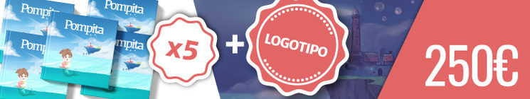 Recompensa para colaboradores (Limitada a 4 Uds.): 5 Cuentos y tu Logo en el cuento en una página compartida con otros 3 colaboradores