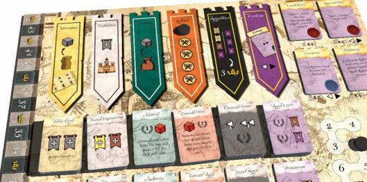 Las seis acciones de ciudad disponibles. El jugador verde jugó en la Guerra.