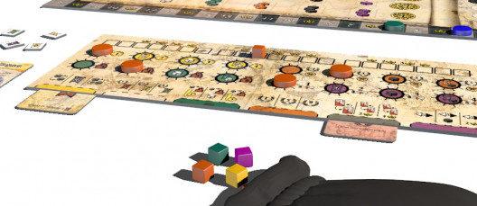 El jugador rojo ha colocado dos cartas debajo del tablero. El primer amarillo de la izquierda te permite intercambiar dos cubos de diferentes colores, mientras que el segundo rojo da inmediatamente 1 punto de victoria. Una segunda tarjeta roja colocada debajo del tablero proporcionará 5 PV, mientras que una segunda tarjeta amarilla proporcionará una pancarta de cualquier color.