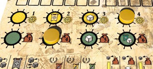 El jugador amarillo ha llevado la pista amarilla al nivel máximo: ahora, cuando haga la acción del mercado amarillo, tendrá 4 monedas disponibles para comprar cubos. Del mismo modo, la acción verde se ha mejorado al segundo nivel: esto le permite dibujar 4 cubos en lugar de 3.