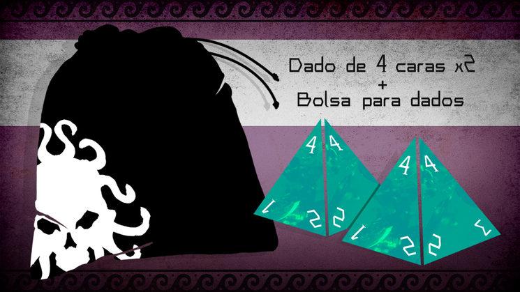 Mancha negra y pirámides aliení... Bolsa de tela con diseño y dados de 4 caras, perdón.