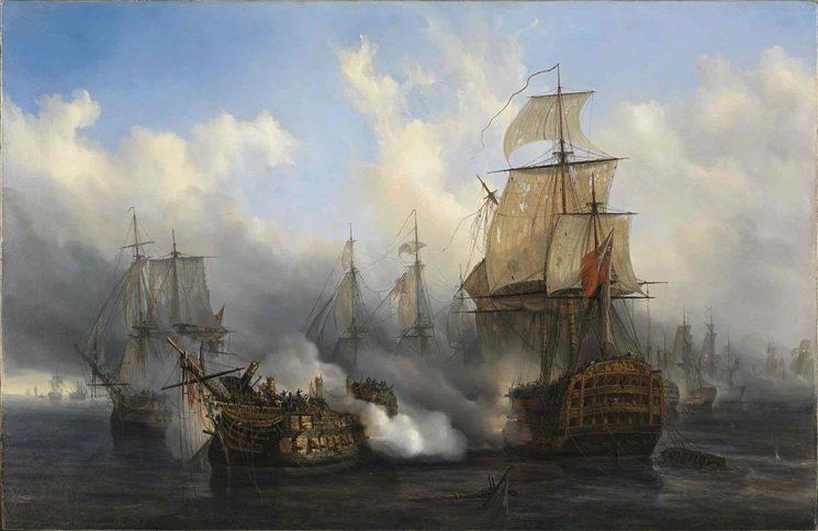 Óleo de Auguste Mayer sobre la batalla