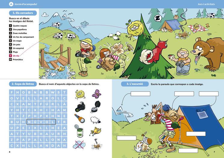 Pàgines del quadern de jocs de vocabulari de 80 pàgines.