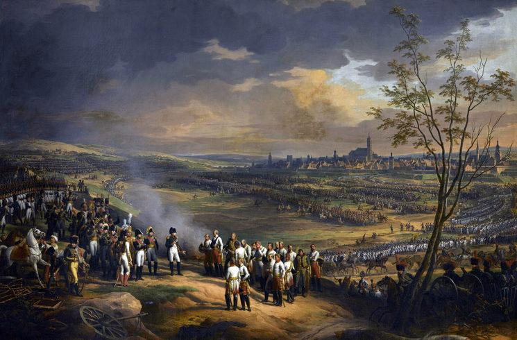 Óleo de Charles Thévenin. Napoleón acepta la rendición del general Mack en Ulm