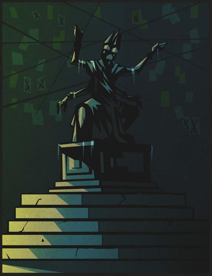 Los drows siguen adorando a Nuestra Señora Oculta en santuarios clandestinos y sus oraciones alimentan la determinación de su diosa y de sus ministros. ¡La ciudad debe caer! (Ilustración de Spire)