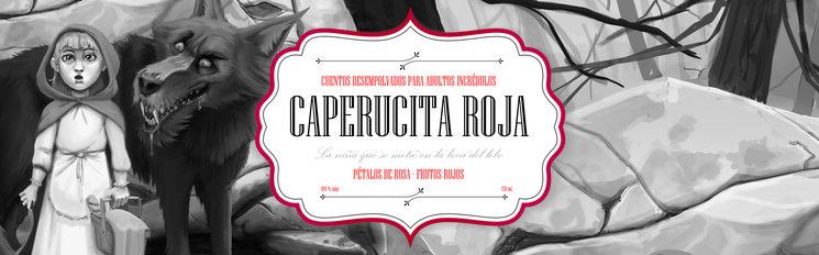 Etiqueta de la vela literaria de Caperucita Roja. Contiene pétalos de rosa, cuarzo rosa y aroma de frutos rojos.