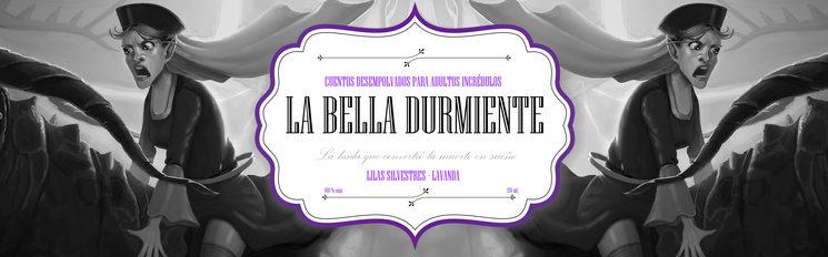 Etiqueta de la vela literaria de La Bella Durmiente. Contiene lilas, amatista y aroma de lavanda.