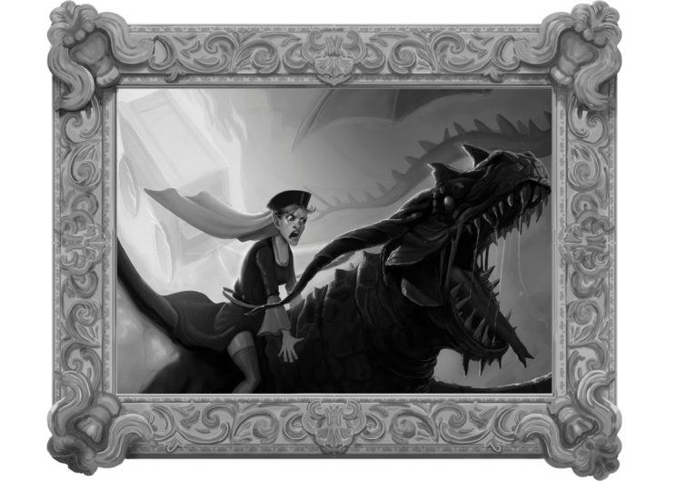 Ilustración del hada buena al lomo de un dragón dirigiéndose al castillo (Cuento de la Bella Durmiente de Charles Perrault)