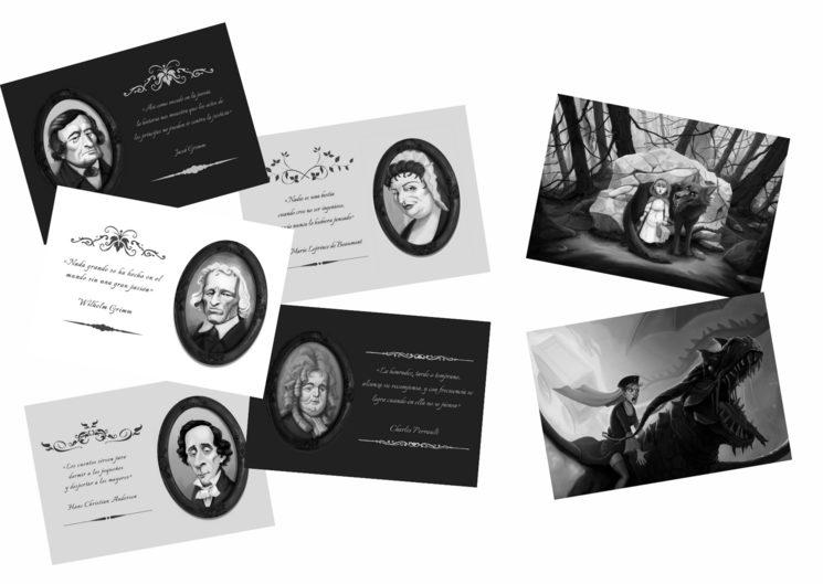 Postales con ilustraciones del libro y frases de los autores