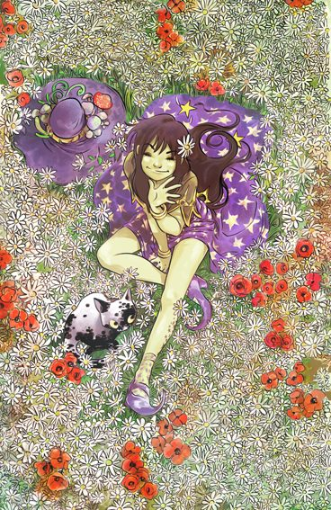 Olalla Estelada en un campo de margaritas en flor
