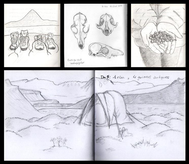 Ejemplos de esbozos a lápiz sobre el terreno durante aventuras anteriores
