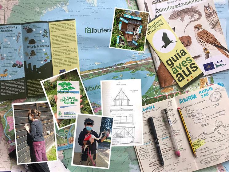 paseos, fotos, entrevistas, folletos, anotaciones en el cuaderno, exposiciones... Todo un cúmulo de experiencias que dan vida a las imágenes