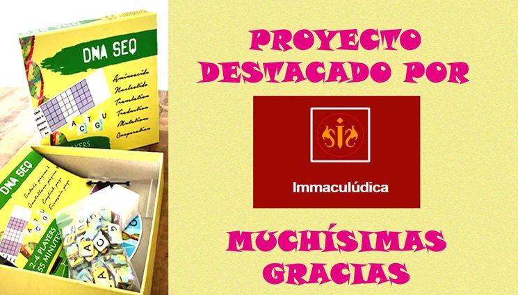 Durante estos días hemos sido uno de los proyectos destacados por Immaculúdica! Gracias :)