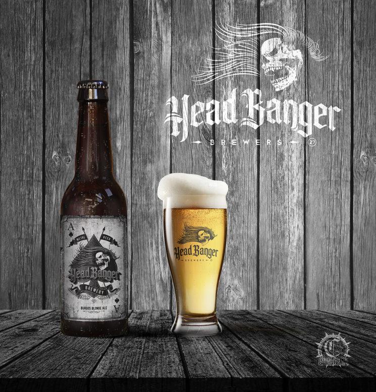 Botella Headbanger 27 Metal Beer y vaso con logo