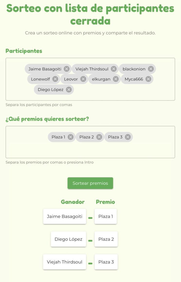 Sorteo realizado en la página echaloasuerte.com