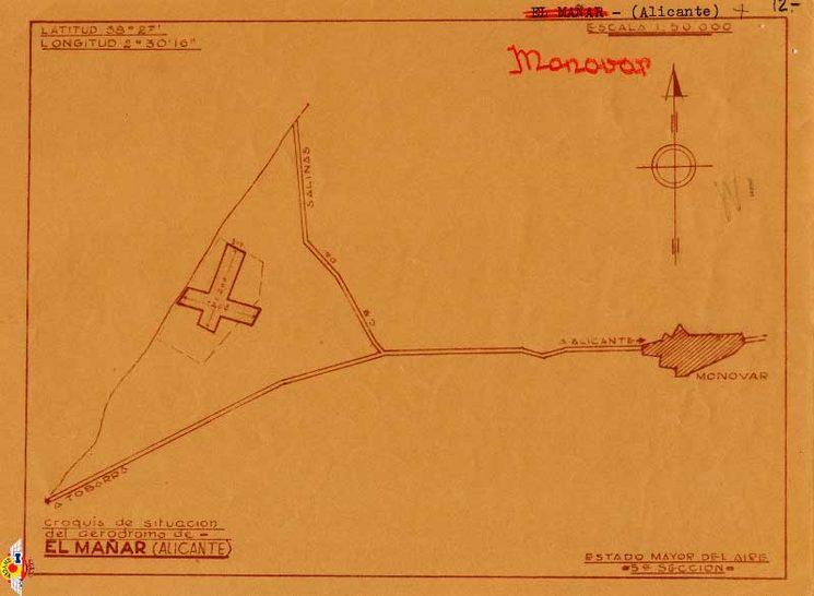 Plànol aeròdrom del Fondó - Font: Arxiu de Monòver