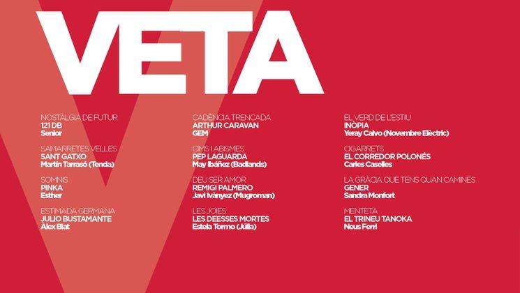 llistat de cançons i intèrprets del disc Veta