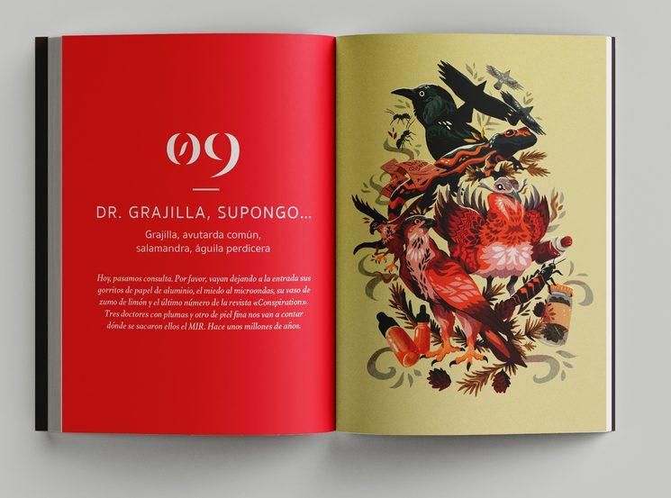 Portadilla del capítulo dedicado a animales que usan la medicina basada en la evidencia, con la ilustración del artista Valentino Lasso.