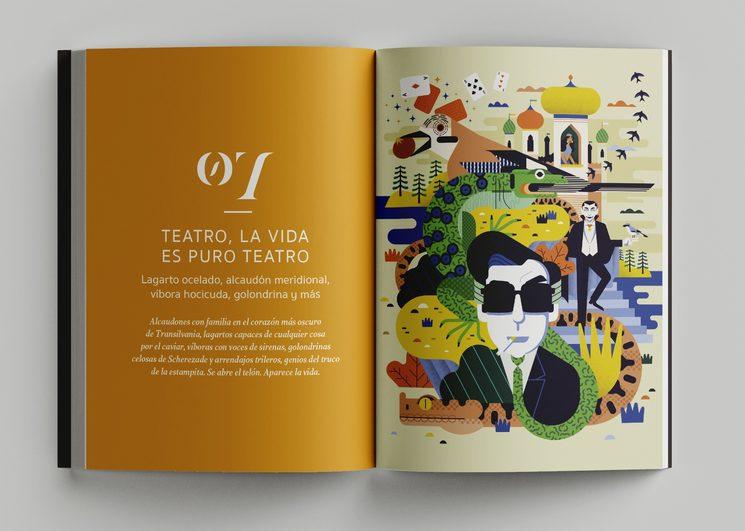 """Portadilla del capítulo """"Teatro, la vida es puro teatro"""" dedicado a las especies más mentirosas. Con ilustración de Ángel Svoboda."""