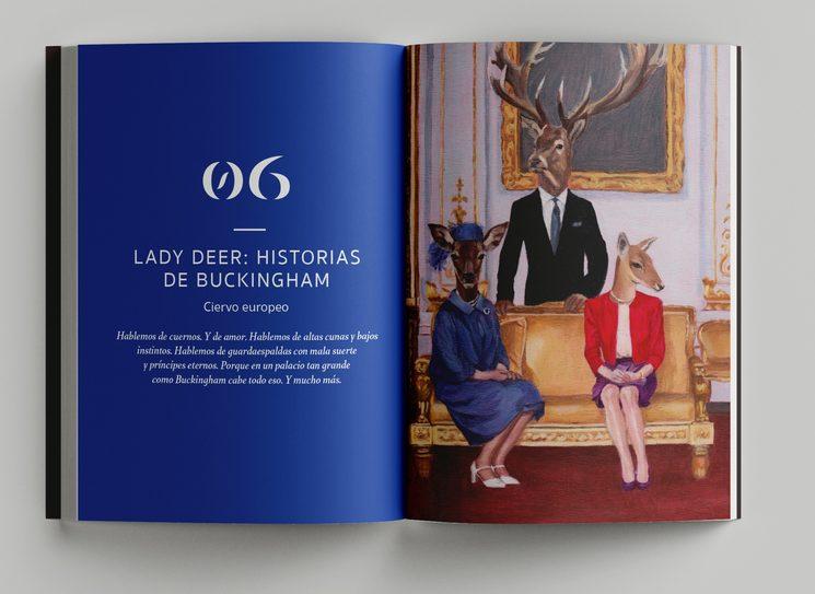 Portadilla del capítulo dedicado al ciervo ibérico e inspirado en la realeza británica. Ilustración de la artista Bruna Valls.