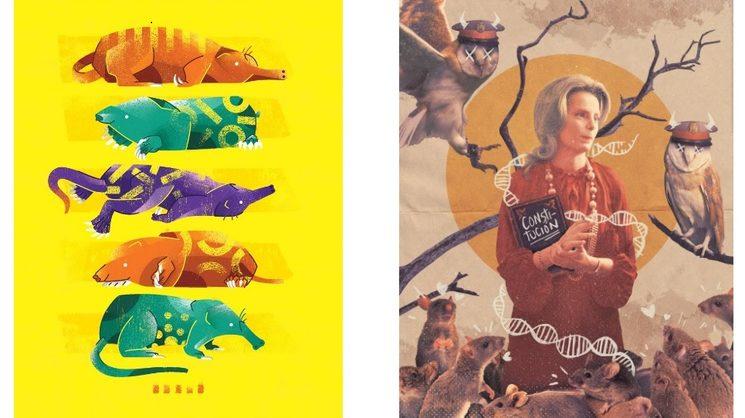 """Izqda. Ilustración de Bryan Gallardo para el capítulo """"Carles, Bélgica y una rata trompetera"""". Dcha. Ilustración de Carlos Toral para el capítulo """"Cuñados no, cuñadísimos (y el desliz)"""""""