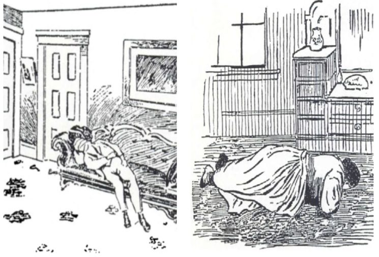 Sketches of the crime scenes from newspapers of the time.