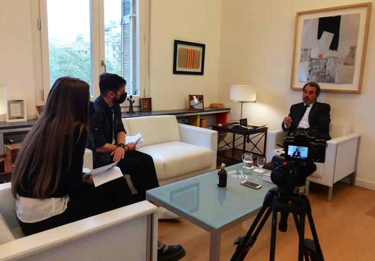 Durante la entrevista a Artur Mas.